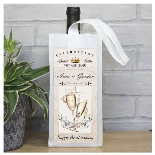 Personalised Wedding Anniversary Bottle Bag N59 - Any Year